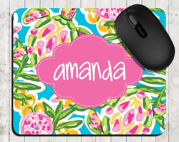 Personalized Teacher Gift  Mouse Pad Personalized Preschool Teacher Gift  Nautical Lilly Inspired Office Decor Monogrammed Gifts