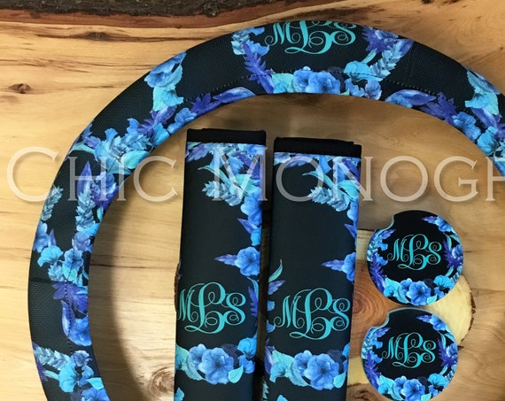 Blue Floral Car Accessories Monogrammed Steering Wheel Cover Seat Belt Covers Car Coasters Set Padded Insulated Steering Wheel Cover Flowers