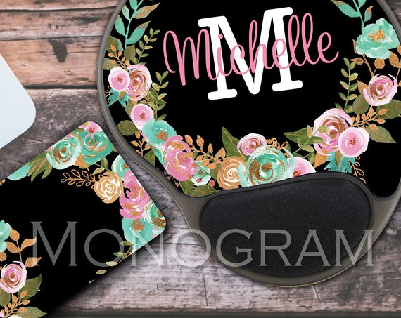 Personalized Mint and Gold Floral Keyboard Wrist Rest & Mouse Pad with Wrist Rest Memory Foam Wrist Mouse Pad Keyboard Wrist Pad Wrist Rest