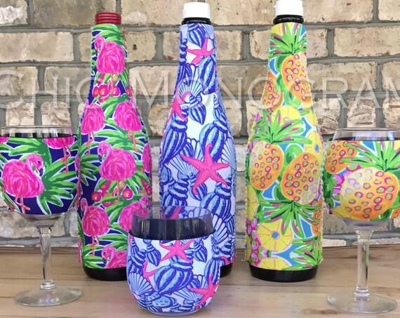 Birthday Gifts for Friends Wine Lovers Gift Set Custom Wine Bottle & Wine Glass Insulator Wine Bottle Wine Glass Hugger Lilly Inspired