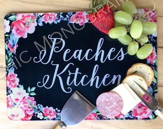 Unique Mothers Day Gifts for Mom Personalized Floral Glass Cheese Board Cutting Board Monogrammed Serving Board Elegant Flowers Gift for Her