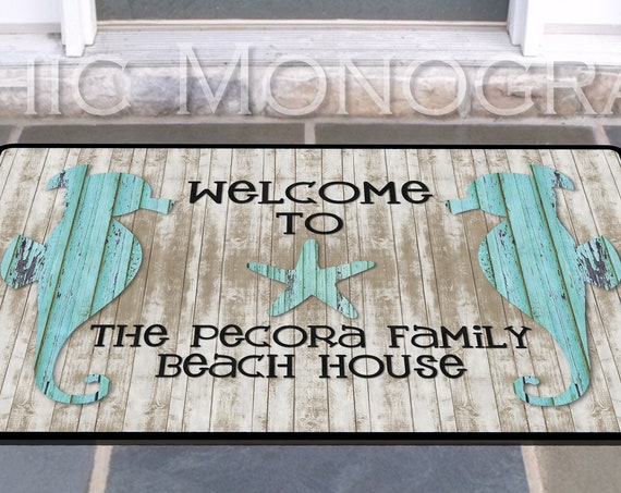Personalized Seahorse Door Mat Beach House Doormat Wedding Gift Ideas Monogrammed Gifts Personalized Custom Rug Monogram Front Door