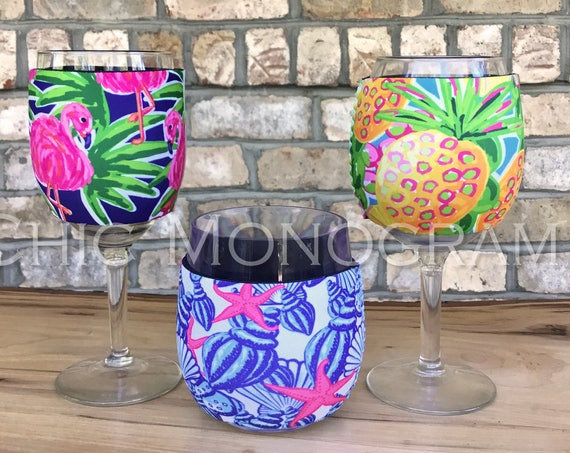 Gifts for Her Wine Glass Insulator Custom Lilly Inspired Personalized Coffee Sleeve Solo Cup Coolie Hug Girls Trip Gifts Girlfriend Gift