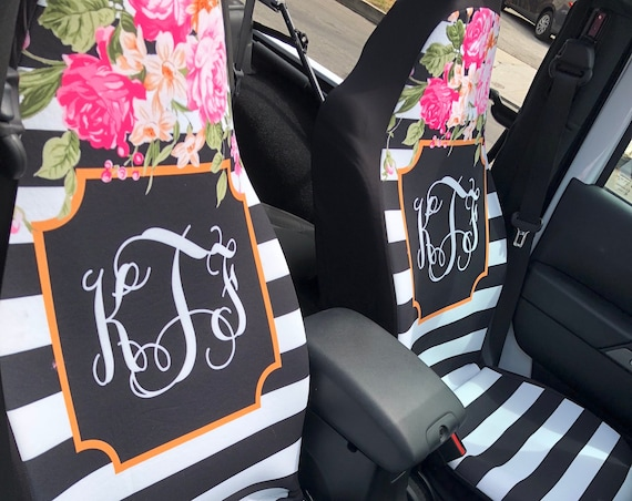 Floral and Stripe Car Seat Covers Flowers Front Seat Covers Monogram Personalized Seat Covers For Car For Vehicle Stripes