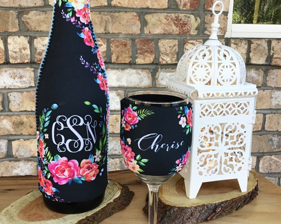 Bridal Party Gift Wine Gift Set Wine Lovers Gift Elegant Floral Monogrammed Wine Bottle & Wine Glass Insulator Wine Bottle Wine Glass Hugger