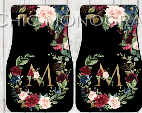Burgundy & Gold Monogrammed Car Mats Classy Monogram Carmats Car Floor Mats Custom Car Accessories For Her Car Decor Cute Car Accessories