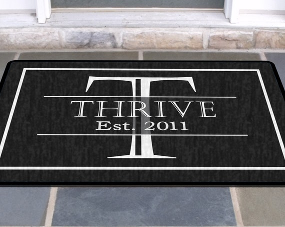 Elegant Black and White Family Name Front Door Mat Doormat Monogrammed Gifts Personalized Custom Rug Monogram Welcome Housewarming Gift