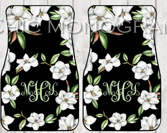 Magnolia Monogrammed Car Mats Magnolia Wreath Monogram Carmats Car Floor Mats Custom Car Accessories For Her Car Decor Cute Car Accessories