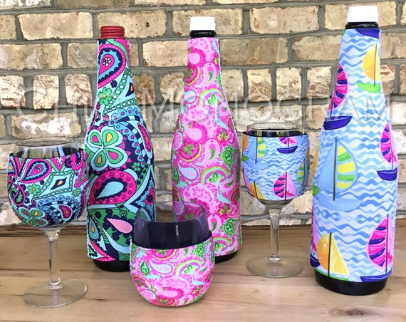 Gifts for Friends Wine Lovers Gift Set Custom Wine Bottle & Wine Glass Insulator Wine Bottle Wine Glass Hugger Hostess Gift Bridal Party