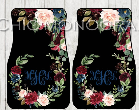 Deep Floral Monogrammed Car Mats Classy Black Monogram Carmats Car Floor Mats Custom Car Accessories For Her Car Decor Cute Car Accessories