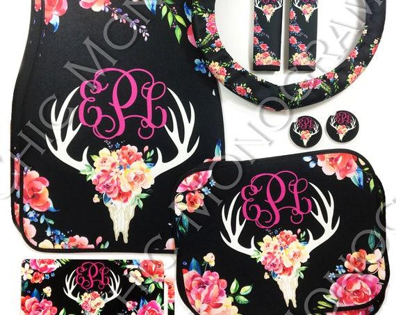 Floral Deer Skull Monogram Car Accessories Custom Cow Skull Animal Skull Flowers Floral Deer Antler With Flowers Antlers Custom Car Set
