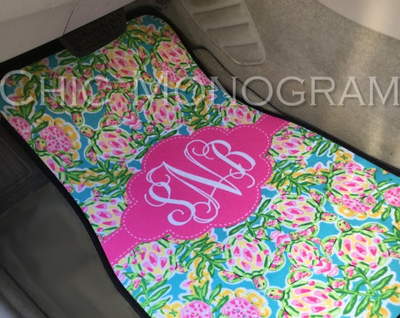Mothers Day Gifts for Her Monogram Car Floor Mats Lilly Inspired Personalized Car Mats Custom Cute Car Accessories Swimming Sea Turtles