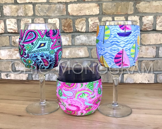 Gift Ideas for Friends for Her Custom Wine Glass Insulator Custom Lilly Inspired Personalized Coffee Sleeve Solo Cup Coolie Hug Bridal Party