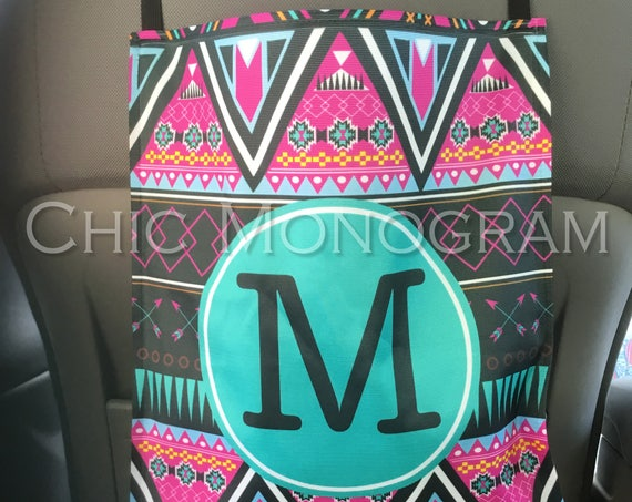 Aztec Monogrammed Car Trash Bag Spring Gifts for Girls Car Organizer Custom Car Trash Can Aztec Tribal Print Personalized Car Accessories