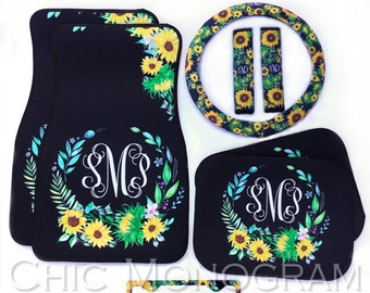 Sunflower Car Accessories Set Monogrammed Floor Mats Steering Wheel Cover Seat Belt Covers License Plate Frame Coasters Sunflowers