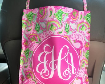 Car Trash Bag Monogrammed Car Organizer Custom Car Trash Can Lilly Inspired Preppy Personalized Cute Car Accessories For Women Car Decor