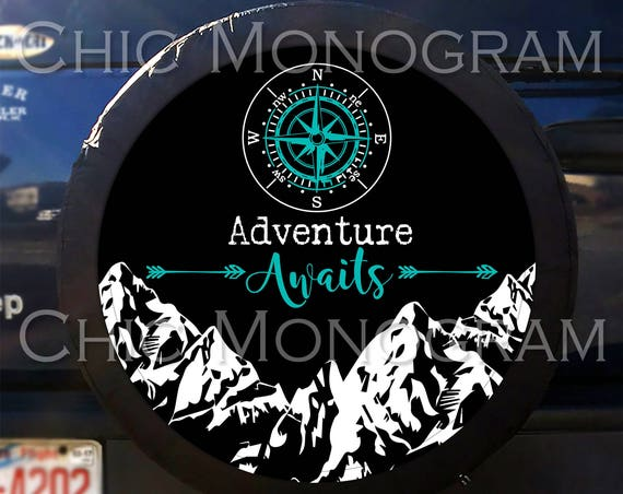 Adventure Awaits Tire Cover Mountains Compass Arrows Spare Tire Cover Custom Tire Cover Jeep Wrangler Accessories Jeep Tire Cover Adventure