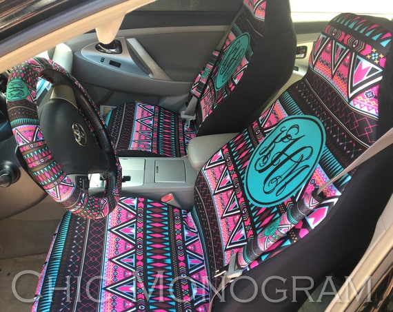 Aztec Tribal Car Accessories Set of Two Front Seat Covers Seat Belt Covers Steering Wheel Cover Tribal Monogram Covers For Car For Vehicle