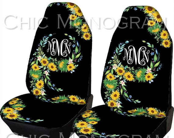 Sunflower Car Seat Covers Sunflowers Front Seat Covers Monogram Personalized Seat Covers For Car For Vehicle Sunflower Back Seat