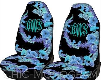 Floral Design Car Seat Covers Blue Flowers Front Monogram Personalized For Vehicle