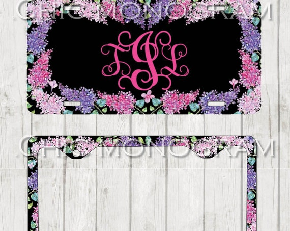 Lilac  Monogrammed Car Tag Floral License Plate Frame License Plate Holder Personalized Car Tag  Gifts for Her