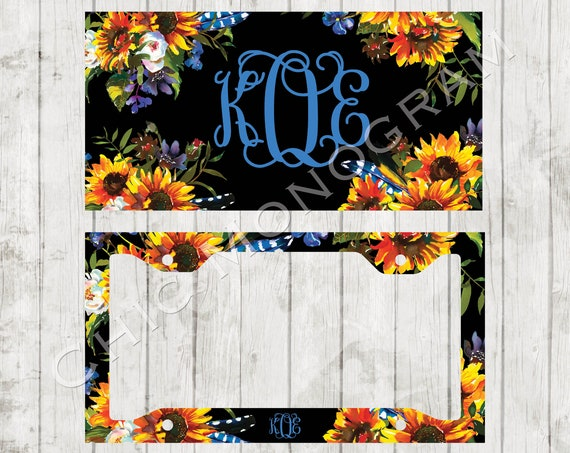Warm Sunflower License Plate Frame Florals Monogrammed License Plate Frame License Plate Holder Personalized Sweet 16 Gifts for Her