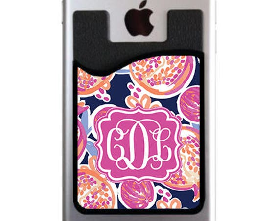 Vacation Essentials Travel Gifts Monogrammed Personalized Cell Phone Card Caddy Phone Wallet Card Holder Monogram ID Credit Card iPhone