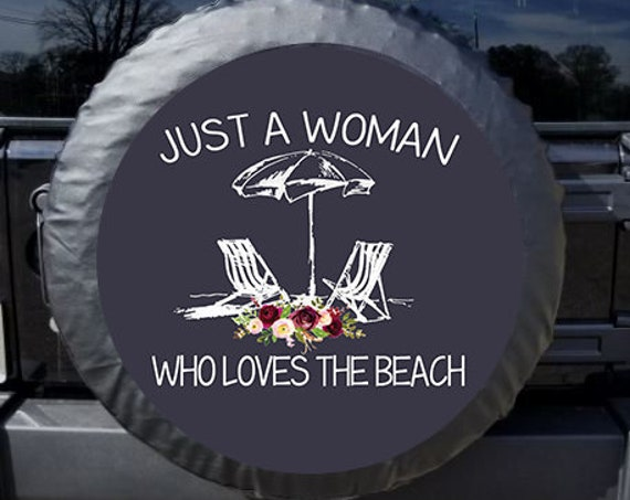 Tire Cover Monogram Just a Woman Who Loves the Beach Tire Cover Spare Tire Cover Custom Tire Cover Jeep Wrangler Accessories Jeep Tire Cover