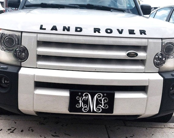 Classy Black and White Monogrammed Car Tag Front License Plate Personalized Car Accessories Gift Sweet 16 Cute Car Accessories For Women