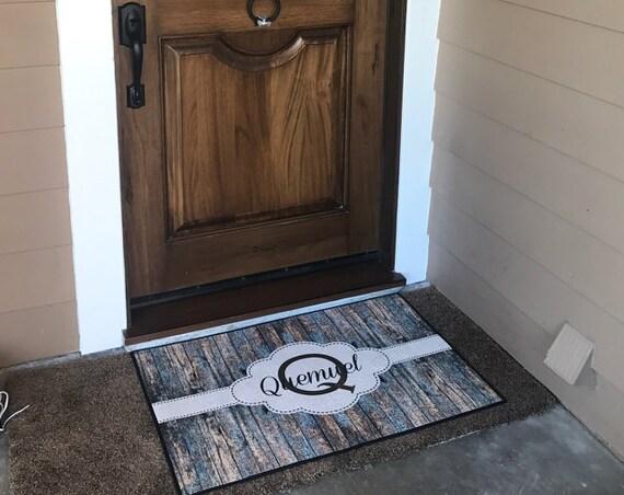 Personalized Wedding Gift, Personalized Rustic Door Mat, Custom Rustic Decor, Monogrammed Gifts Wood Look Rug Doormat Front Door Mat