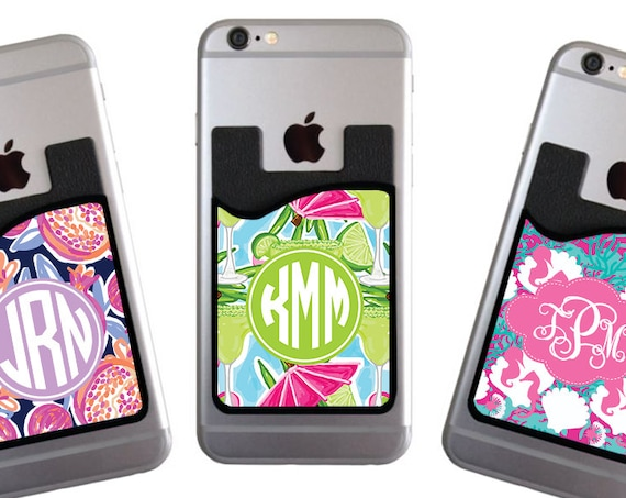 Personalized Cell Phone Card Caddy Phone Wallet Card Holder Custom Monogram ID Credit Card iPhone Monogrammed Bachelorette Party Gifts