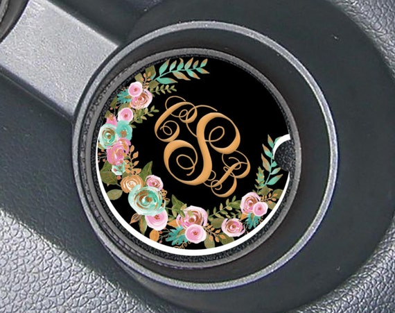 Mint and Gold Floral Monogrammed Car Coasters Cup Holder Coasters Design Your Own Personalized Sandstone Coasters Car Accessories For Women