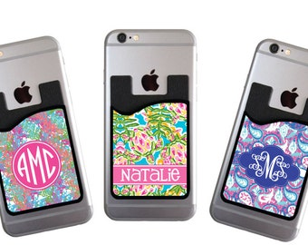 Monogrammed Personalized Cell Phone Card Caddy Phone Wallet Preppy Wallet Card Holder Monogram Gifts Custom Monogram ID Credit Card iPhone