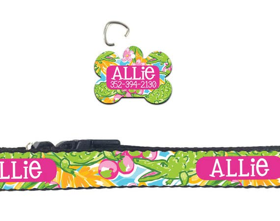 Personalized Preppy Lilly Inspired Dog Collar Dog Tag Pet ID Tag Combination Set Adjustable Custom Gifts for Pet Lovers Pet Accessories