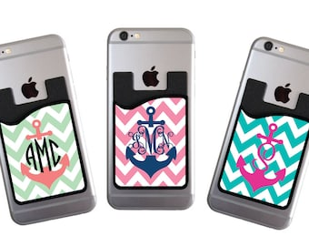 Gifts for Her Monogrammed Personalized Phone Card Caddy Phone Wallet Preppy Wallet Card Holder Monogram Gifts Custom ID Credit Card Holder