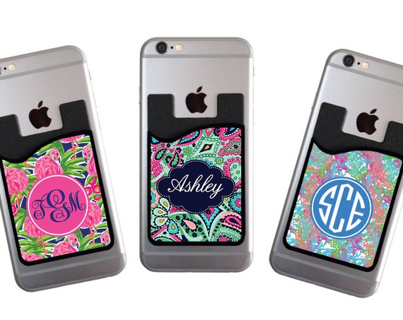 Gifts for Her Personalized Cell Phone Card Caddy Phone Wallet Custom Preppy Card Holder ID Credit Card Student ID Holder
