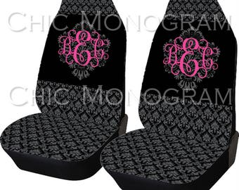 Black Damask Car Seat Covers Set Of Two Front Monogrammed Personalized Accessories For Vehicle Monogram