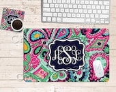 Desk Accessories for Women Keyboard and Mouse Pad Keyboard Wrist Support Gift for Employee Keyboard Wrist Rest Pad Monogram Coaster