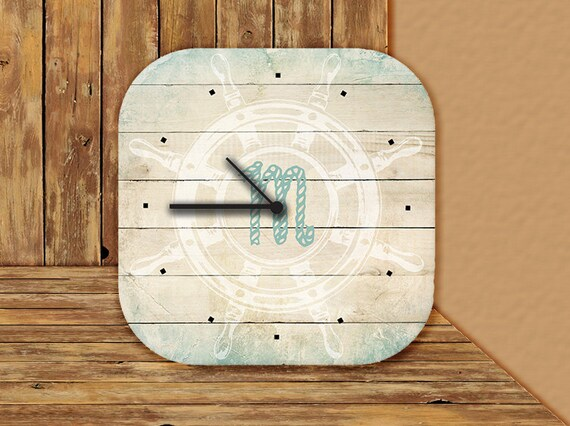Desk Clock Monogram Monogrammed Custom Personalized Clock Teacher Coach Nautical Gifts for Dad Housewarming Office Coworker Accessory