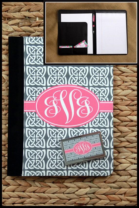 College Graduation Gift Monogram Padfolio & Business Card Case Set New Job Gift Notepad Portfolio Custom Monogram Gifts for Coworkers
