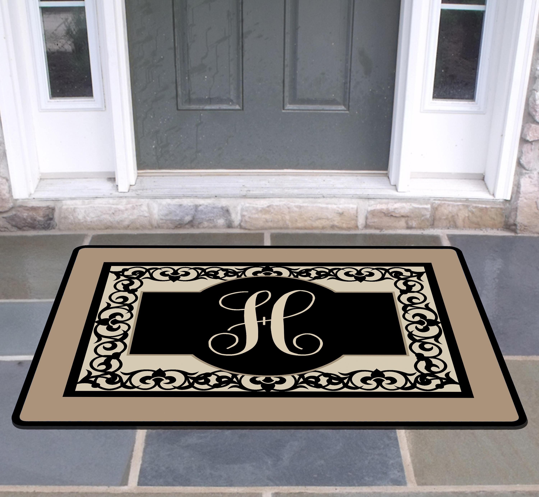 New home gift elegant flourish family front door mat doormat monogrammed gifts personalized custom rug monogram doormat welcome housewarming