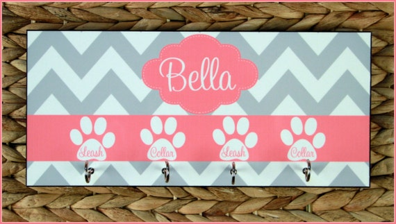 Leash Holder Rack Hanger Monogrammed Personalized Gift Organizer Dog Pet Accessories Dogs Pets Wall Decor