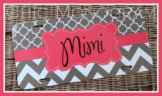 License Plate Car Tag Personalized Monogrammed Car Tag Car Accessories Mothers Day Gift License Plates New Car Frost and Chevron Clover