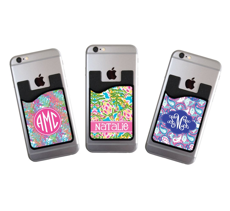 Monogrammed Personalized Cell Phone Card Caddy Phone Wallet image 0