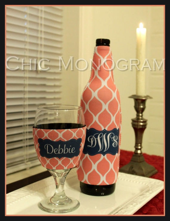 Wine Gift Set Wine Lovers Gift Monogrammed Wine Bottle & Wine Glass Insulator Bachelorette Party Bridesmaids Gifts Bridal Party Gifts