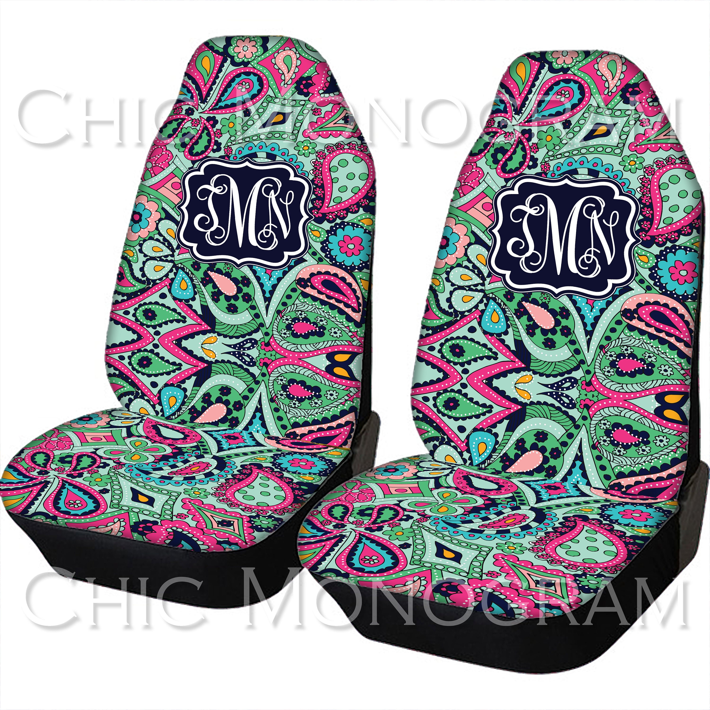 Seat Covers For Vehicle Paisley Jewels Car Front Cover Monogram Personalized Accessories