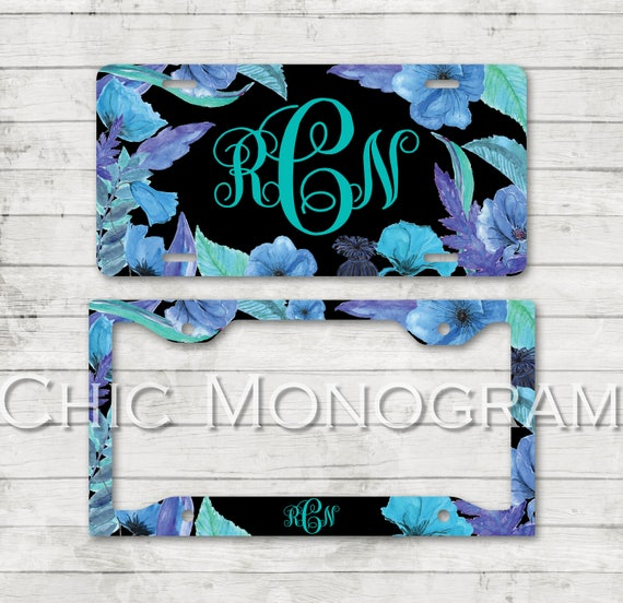 New Car Gifts for Her Beautiful Blooming Blue Flowers Floral License Plate Car Tag License Plate Frame Personalized Monogrammed Car Tag