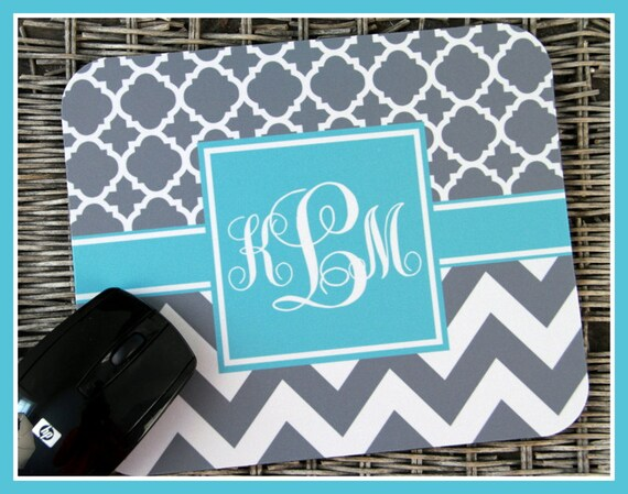 Mouse Pad Monogrammed Gifts Personalized Mousepad Two Pattern Computer Accessories Geekery Custom Desk Coworker Gifts Office Gifts Black