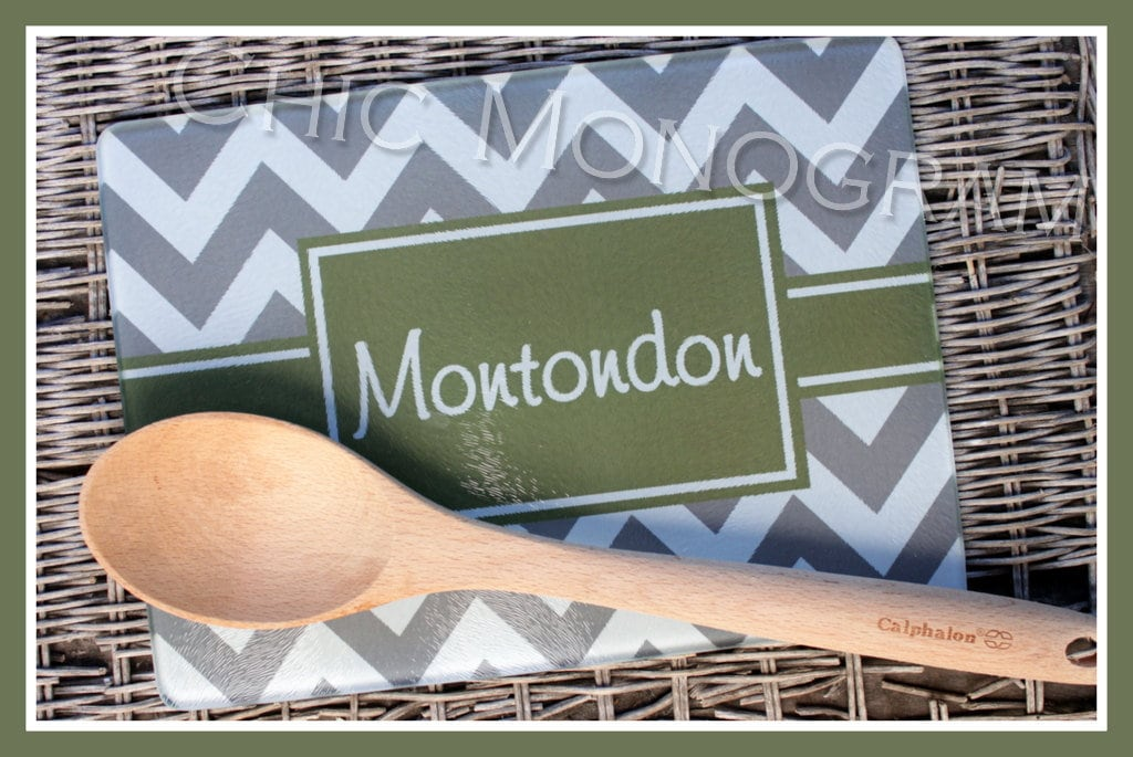 Personalized Glass Cutting Board Custom Monogrammed Gifts Unique