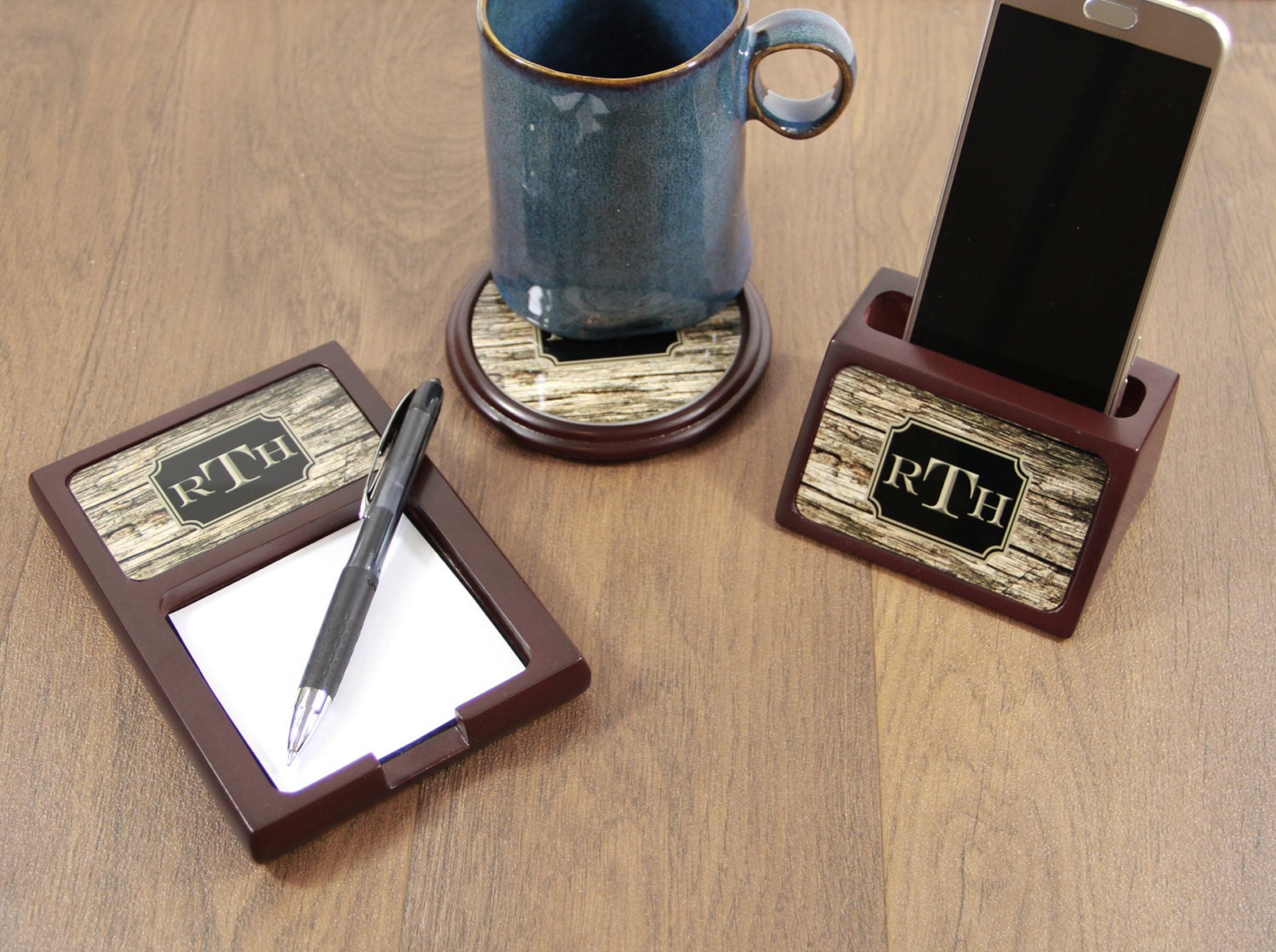 Christmas Gifts for Him Wood Mahogany Desk Accessories Set Sticky ...